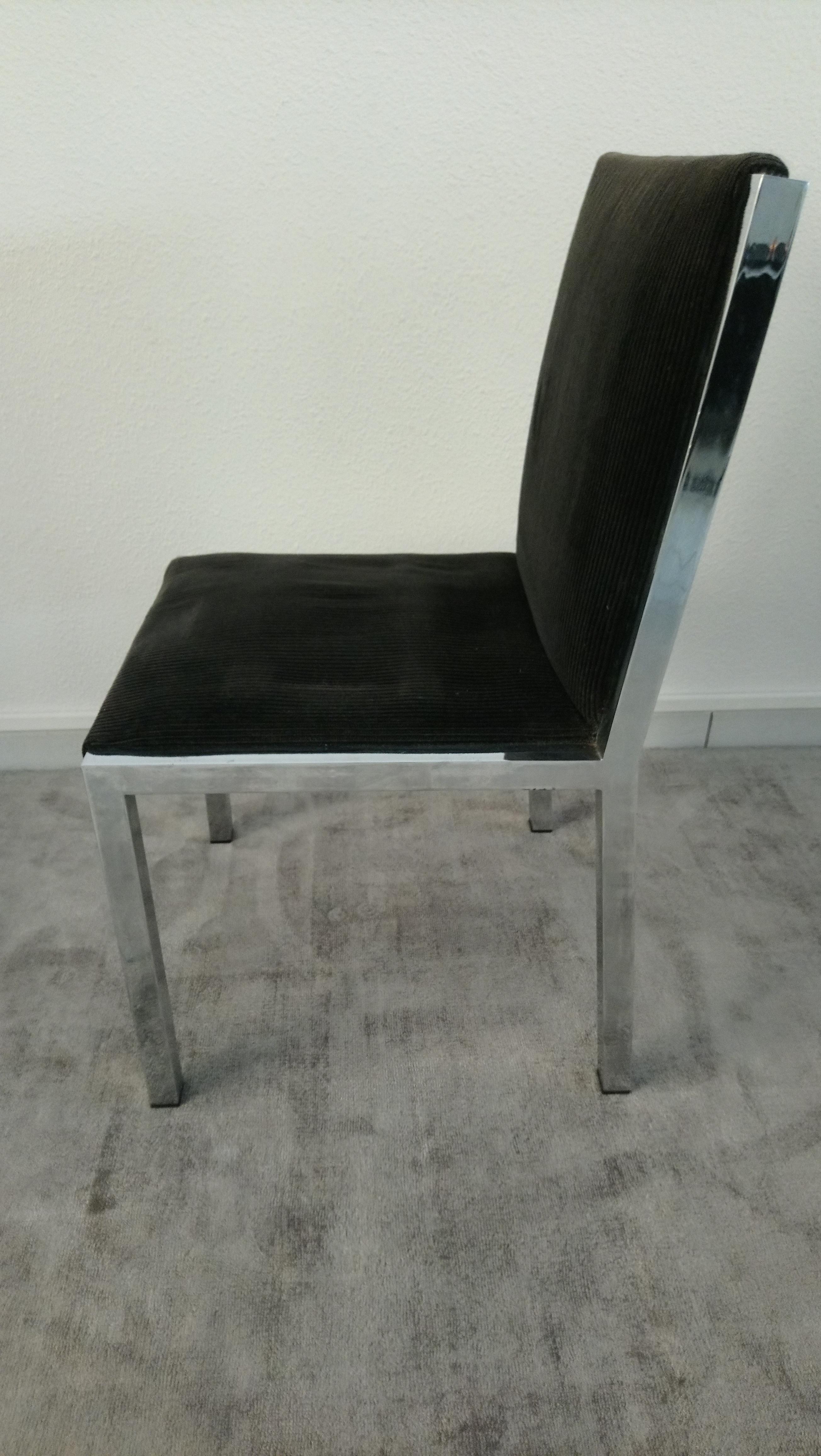 Chambre A Coucher Annees 70 suite de 6 chaises italiennes chrome et velours noir années