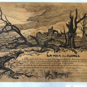 lithogravure la Voix des ruines Victor Prouvé