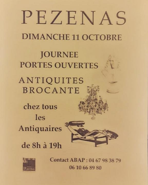 En raison de l'annulation du Grand déballage, journée portes ouvertes chez tous les antiquaires de Pézenas le dimanche 11 octobre 2020